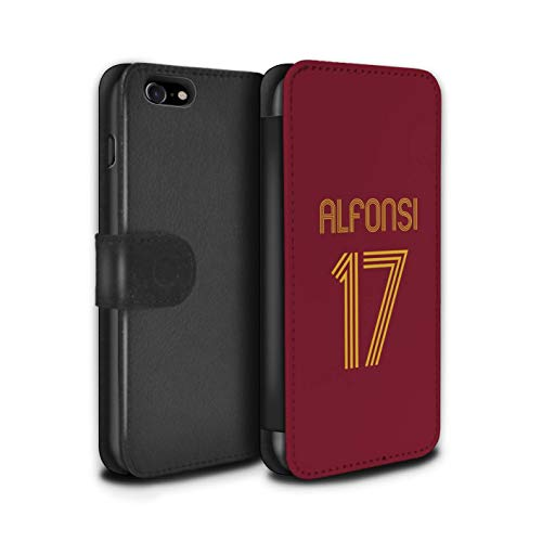 Stuff4 PU lederen hoesje/portemonnee/IP-PSW/Custom Euro Football Club Shirt Kit collectie Apple iPhone SE 2020 Rome Rood