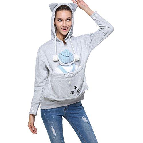 Gato Sudaderas con Capucha Mujer,LongraManga Larga y Bolsillo para Mascotas Suéter Encapuchado Capa Pullover,Outwear Camisetas,Entrenamiento Camisa Tops (Gris, M)