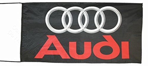 Audi Flagge Banner schwarz 2,5x 5ft 150x 75cm