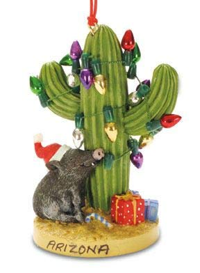 JWG Industries Arizona Saguaro Cactus with Christmas Lights Peccary Pig Ornament Decoration
