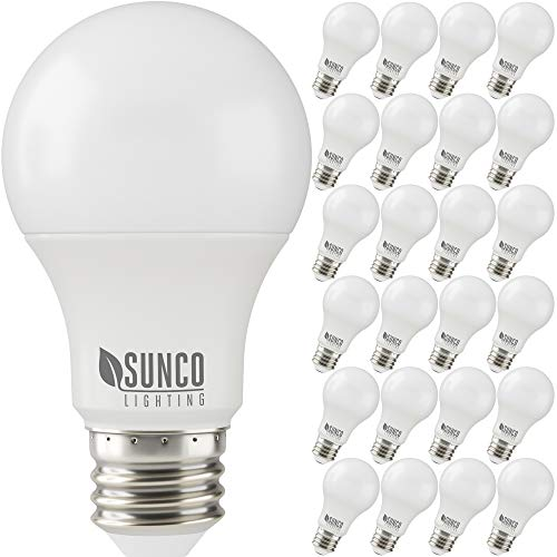 Sunco Lighting 24 Pack A19 LED Bulb, 3W=25W, 5000K Daylight, 250 LM, Dimmable, E26 Base, Indoor Light - UL