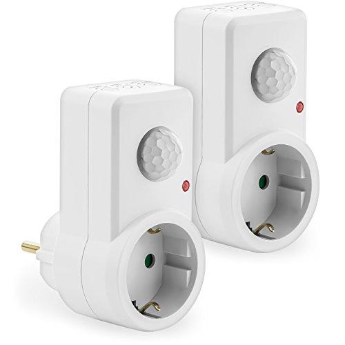 deleyCON 2X Infrarot Bewegungsmelder für Steckdosen im Innenbereich Lichtsteuerung 120° Arbeitsfeld 9m Reichweite eingebauter Lichtsensor einstellbare Empfindlichkeit Weiß