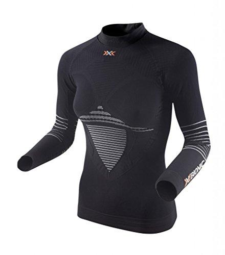 X-Bionic I020281 T-Shirt à Manches Longues avec col Montant Femme, Noir/Blanc, FR (Taille Fabricant : XS)