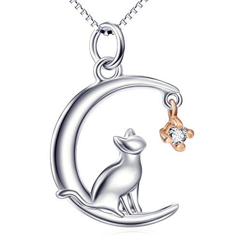 Collier pour femme, chat, argent sterling, lune, pendentif chat, bijou