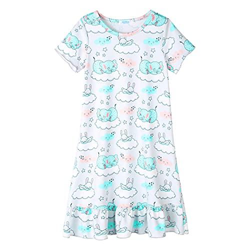 untlet Nachthemd Einhorn Mädchen Kinder Einhorner Nachtkleid Kurze Ärmel Nachtwäsche Nachthemden Nachtkleider,Weißer,150