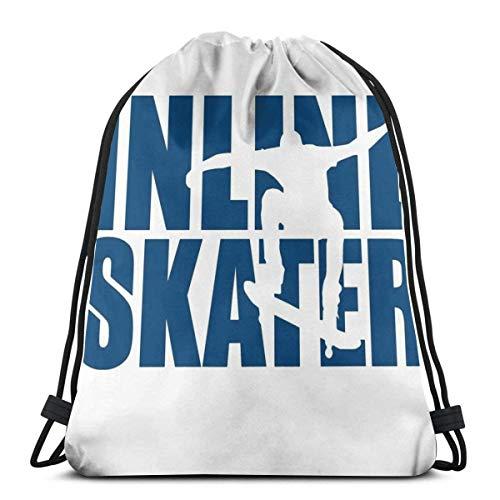 N / A Inline Skater Shirt Kordelzug Rucksack Tasche Jugendliche Drawstring Backpack Verstellbar Gym Bag Tasche Gymsack Sporttasche Für Damen Herren