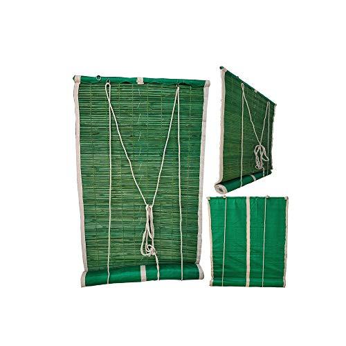 SAI PRASEEDA Bamboo Balcony/Window Green Curtain Net with Heavy Quality (60/84 inches)