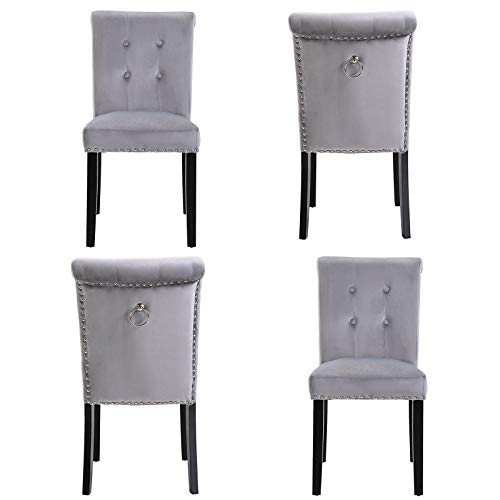 Profurni Dining Chair High Back Studded Velvet Chair Modern Kitchen Living Room Lounge Chair Button Tufted Ring Knocker Seat with Backrest Soft Cushion and Sturdy Wood Legs(4 x Grey)