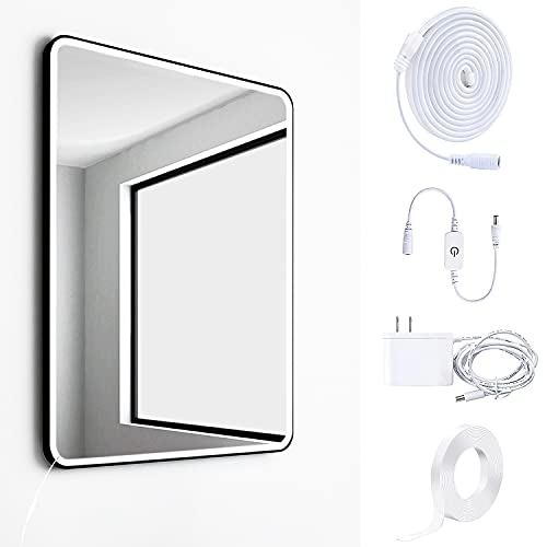 Led Makeup Light, Bendable and Detachable Waterproof Mirror Lights, Dimmable Touch Control Lights Strip, for Makeup Vanity Table, Bathroom Mirror, Kitchen, Wardrobe and Bedroom (6.6Ft Bright White)