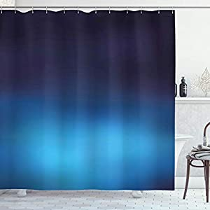"""Ambesonne Navy Shower Curtain, Ombre Style Deep Sea Ocean Underwater Themed Digital Colored Graphic Design Art Print, Cloth Fabric Bathroom Decor Set with Hooks, 70"""" Long, Dark Blue"""