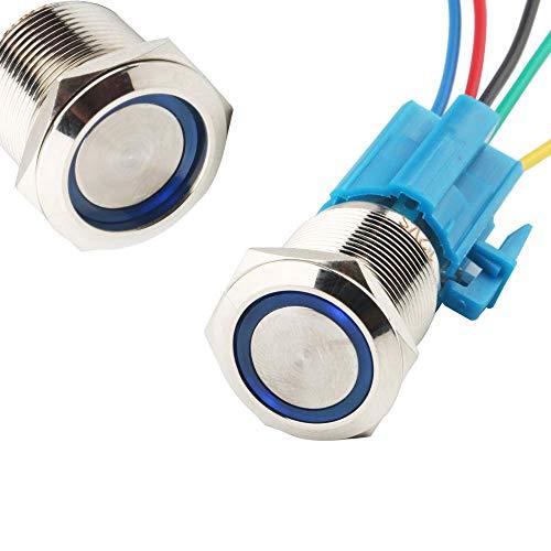 CESFONJER Interruptor de Botón de Bloqueo | Botón Interruptor Resistente al Agua | 19mm 12V Metal Encendido/Apagado Para Automovil, Barco, Etc (LED Azul)