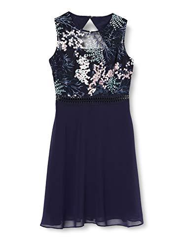 Amazon-Marke: TRUTH & FABLE Damen Mini A-Linien-Kleid aus Spitze, Mehrfarbig (Sprig Mesh), 38, Label:M