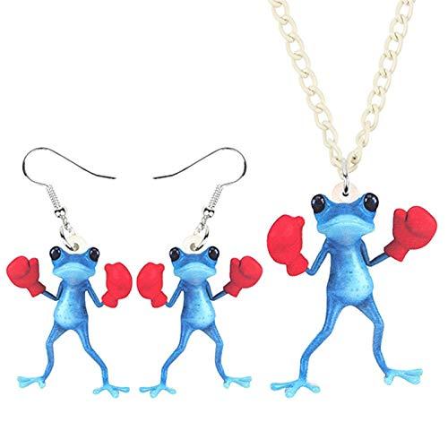 Xx101 Joyería De Acrílico Guantes De Boxeo Rojos Conjunto Pendientes del Collar De La Rana del Collar De Los Encantos Colgante For Las Mujeres De Chicas Montón De Recuerdos Nixx0 (Color : A)