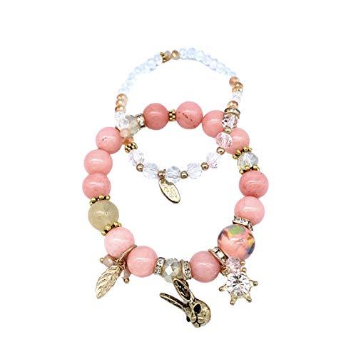 Viela Stretch Rose Quartz Lucky Stone Bracelet Reiki Healing Crystal Gemstone Dangle Charms Golden Rabbit Bracelet