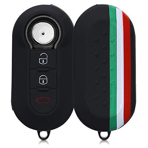 kwmobile 対応: Fiat Lancia 3-ボタン 折りたたみ 車のキー ケース - シリコン キー保護 - 車 鍵 カー キー...