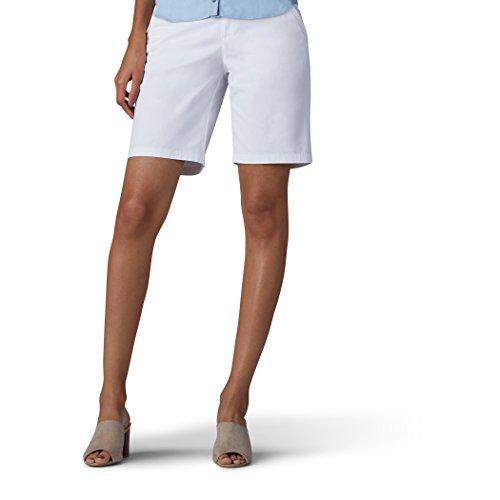 LEE Women's Straight Fit Tailored Chino Bermuda Short, White, 18