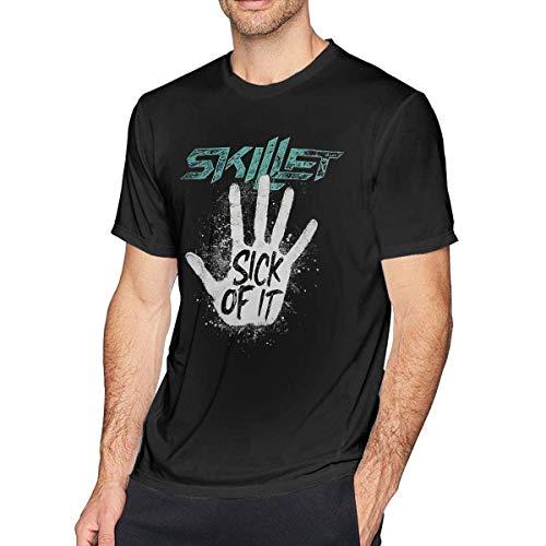 Tengyuntong Skillet Sick of It T Shirt Men's Fashion Cotton Round Neck Short Sleeve Tees Black