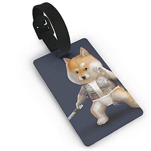 Etiquetas de Equipaje Shiba Inu Japanese Dog Samurai Impreso PVC Etiqueta de Nombre Identificación de Maleta de Viaje Etiquetas de identificación Etiqueta de Equipaje Duradera