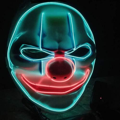 Halloween Maske LED Leuchten Gruselmaske Clown mit 3 Blitzmodi, Gruselige Blinkende Maske Coole Dekoration für Halloween Fasching Karneval Cosplay Party Kostüm Cosplay (Blau+Rot)