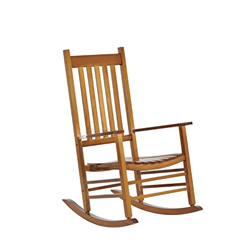 Outsunny Versatile Wooden Indoor/Outdoor High Back Slat Rocking Chair