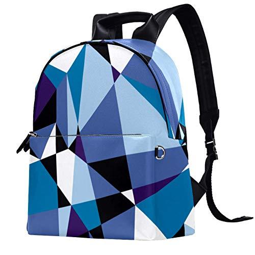 Leder-Rucksack, geometrisches Dreieck, Kunst, Blau, Lila, Schule, College, Büchertasche, Reise, Büro, Laptop-Rucksack für Damen und Herren