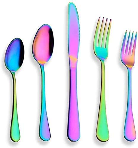 JUIO Juego de 20 cubiertos de acero inoxidable con chapado en titanio, multicolor (color: multicolor)