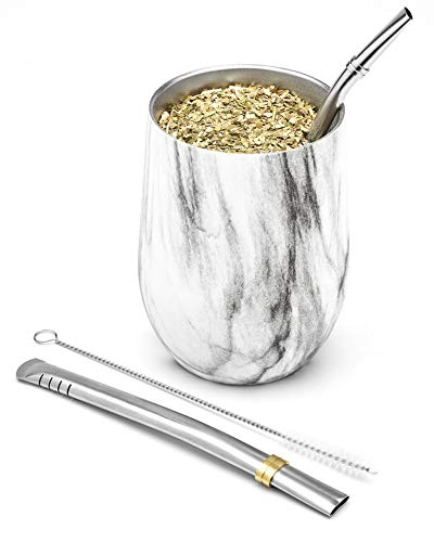 BALIBETOV Modern Mate Cup and Bombilla Set (Yerba Mate Cup) -Yerba Mate Set Includes Double Walled 18/8 Stainless Steel Mate Tea Cup, Two Bombilla Mate (Straw) and a Cleaning Brush (Marble, 355 ml)