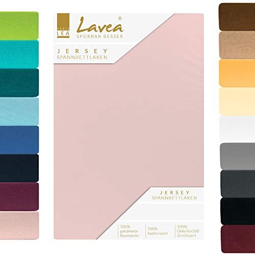 Lavea Jersey Spannbettlaken, Spannbetttuch, Premium Serie LEA, 140x200cm   160x200cm, Rosa, 100% gekämmte Baumwolle, hochwertige Verarbeitung, mit Gummizug und OekoTex100