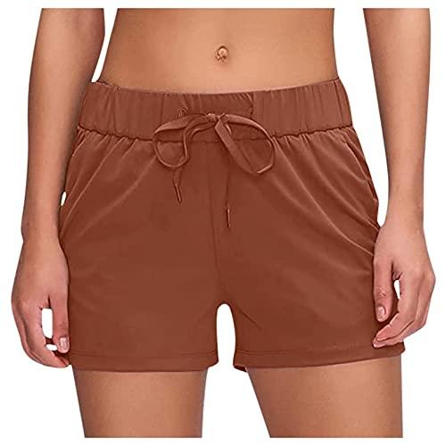 Pantalones Cortos Deportivos de Yoga para Mujer Transpirable Secado Rápido Yoga Shorts Sueltos Playa Entrenamient Verano Pantalones Cortos Multicolor para Correr con Bolsillos (Vino, XL)