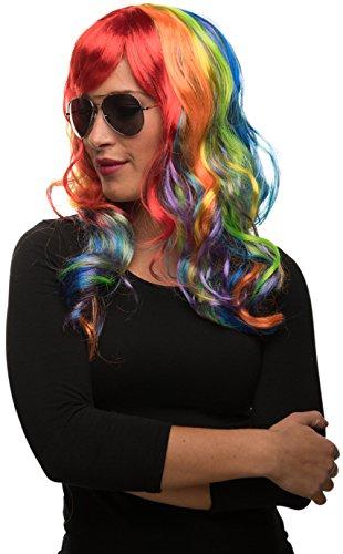 Parrucca Unicorno di capelli lunghi nei colori dell' arcobaleno per donne e uomini | Per il Carnevale