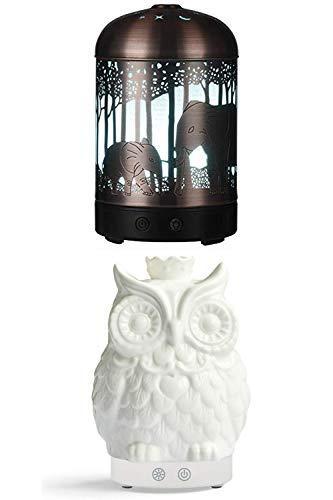 Bxiaoyan Difusor de aceites Esenciales Humidificador de Niebla fría de 160 ml - Humidificadores LED de 7 Colores Elefante y pi?a