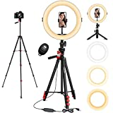 11' Ring Light, L8star Selfie Led Ring Light with 51' Extendable Tripod Stand and Flexible Cell Phone Holder for Live Stream, YouTube Video, TIK Tok Lights