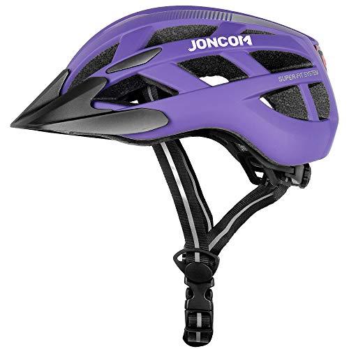Joncom Adult Bike Helmet with Light, CPSC Certified for Mountain Road Bicycle Helmet for Men Women with Detachable Visor, Adjustable Lightweight Road Cycling Helmet