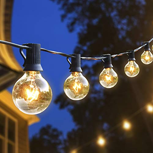 Hidixon Outdoor String Lights, 51FT G40 50+5(Spare) Tungsten Bulbs Festoon Lights Garden Patio Outside Globe String Lights, IP44 Waterproof for Wedding Backyard Cafe Home Party Decoration