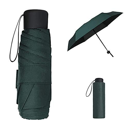 Mini paraguas de viaje, negro compacto plegable paraguas, pequeño, ligero, impermeable, lluvia y sombrilla para mujeres, hombres y niños (rojo vino)