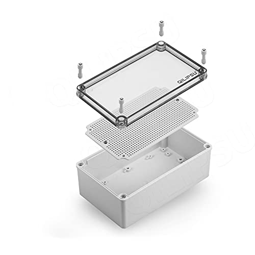QILIPSU Junction Box with Mounting Plate 250x150x100mm, Clear Cover Plastic DIY Electrical Project Case IP67 Waterproof Dustproof Enclosure Grey (9.8