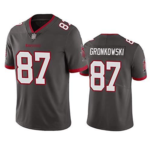 SKMYTE Herren Pirat Rugby Jersey, Gronkowski # 87 American Football Jersey Mesh atmungsaktives schnell trocknendes Hemd, kann als Geschenk für Fans verwendet Werden Black-S