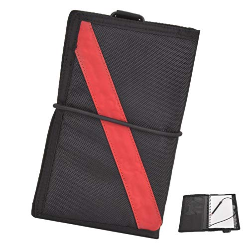 Surebuy Cuaderno de Buceo con Revestimiento de PU de Tela de Nailon Resistente al Desgaste Suministros de Snorkel(Red Stripes)