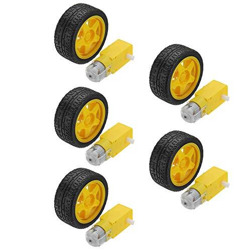 DollaTek 5Pcs Smart Car Robot Plastic Tire Wheel with DC 3-6V Gear Motor for Arduino
