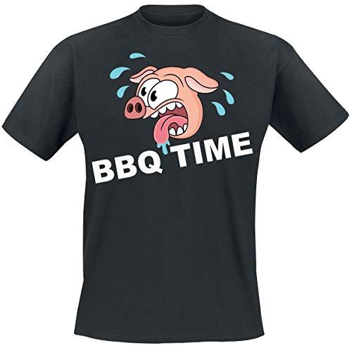 BBQ Time Männer T-Shirt schwarz M 100% Baumwolle Fun-Merch, Grillen & Kochen, Sprüche