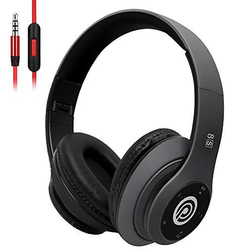 8S Auriculares Inalámbricos, Audífonos Inalámbricos Bluetooth Plegables HiFi con Micrófono Incorporado y Control de Volumen Eliminación de Ruido, Soporte Micro SD/TF/FM, para iPhone/ Samsung/ iPad/ PC