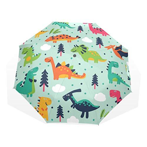 ISAOA Automatischer Reise-Regenschirm,kompakt,faltbar,Netter Dinosaurier,Winddicht Stockschirm,Ultraleicht,UV-Schutz,Regenschirm für Damen,Herren und Kinder