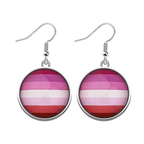 CHOORO Gay Pride Gift LGBT Earring Rainbow Pride Earring LGBT Jewelry Bisexual Pride Gift Transgender Pride Gift (LGBT-LipstickLesbian earring)
