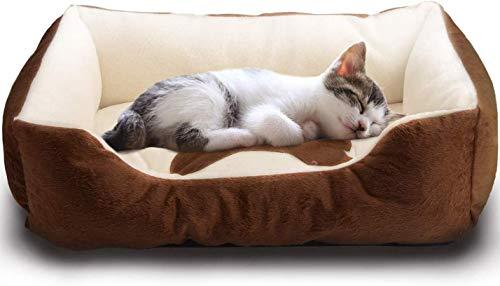 Vanhua ペットベット ペットソファ ソフト マットペット用品  通年タイプ  クッション 洗える ふんわり  小型犬/猫用, ブラウン  Sサイズ