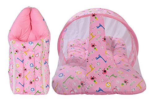 Babytoons New Born Baby Bed with Mosquito Net Bed and Sleeping Carry Bag - Pink Giraffe (0-6 Months)