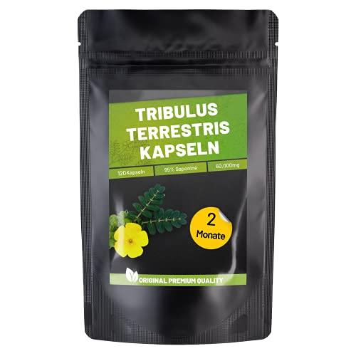Fitness Vital Tribulus Terrestris Kapseln mit 95% Saponinen hochdosiert vegan | 120 Saponine Kapseln Tribulus-Terrestris | Östrogen Blocker für Männer Frauen | Testosteron Booster Muskelaufbau