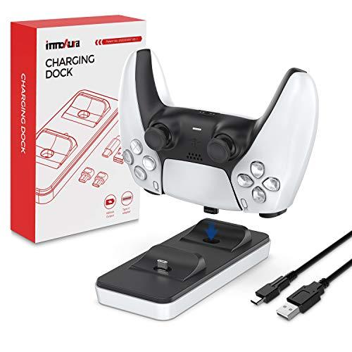 innoAura Estación de Carga portátil para mandos PS5, Cargador Dual de mandos PS5 con 2 Puertos de Carga Tipo C extraíbles (Blanco)