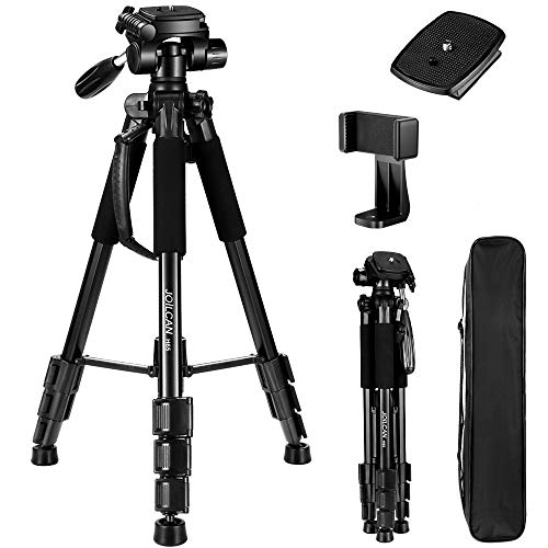 "JOILCAN 65""Compact Light Weight Travel Portable Aluminum Camera/Phone Tripod for DSLR Camera with Universal Phone Mount & Carry Case(Black)"