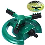 WISDOMWELL Wisdom Garden Sprinkler Automatic Lawn Water Sprinkler 360 Degree 3 Arm Rotating