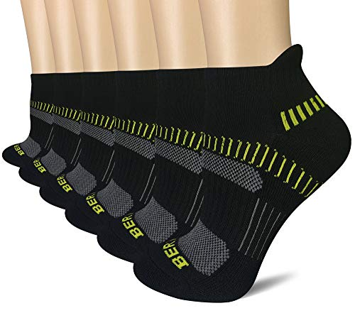 BERING Women's Performance Athletic Running Socks, Size 6-9, Black, 6 Pair Pack